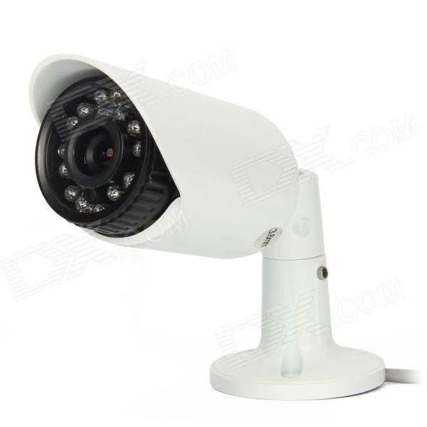 HS-508TC 700TVL 3.6mm 1/3 CCD Waterproof Surveillance Security Camera w/ 24-IR LED - White mini bullet cvbs ccd camera 700tvl with headset mount for mobile surveillance security video 5v