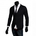 Fashion Men's  V-neck Knit Cardigan - Black (L)