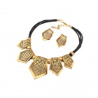Europe and Exaggerated Exotic Hollow out Geometric Women's Necklace + Earrings Set - Black + Golden