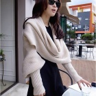 Ladies Knitting Wool Scarf - Beige