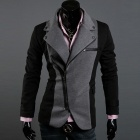 Fashion Irregular Zipper Design Color Matching Suit - Grey + Black (Size M)