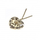 Fashionable Vintage Engraving Rose in Heart Pattern  Sweater Cahin - Antique Copper