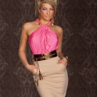 Dizzying Ruched Halterneck Cocktail Fashion Dress for Women - Pink +  Khaki (Free size)