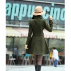 Damemote Large Lapel Slim Coat - Army Grønn (L)