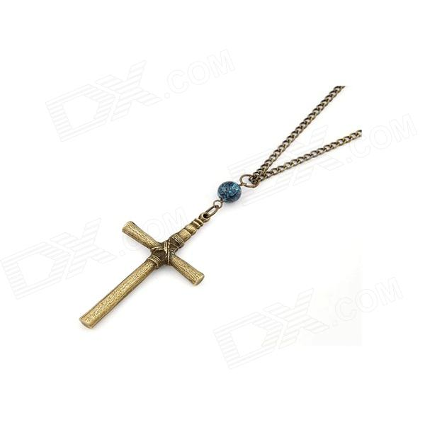Fashionable Vintage Cross Pattern Sweater Chain - Antique Copper