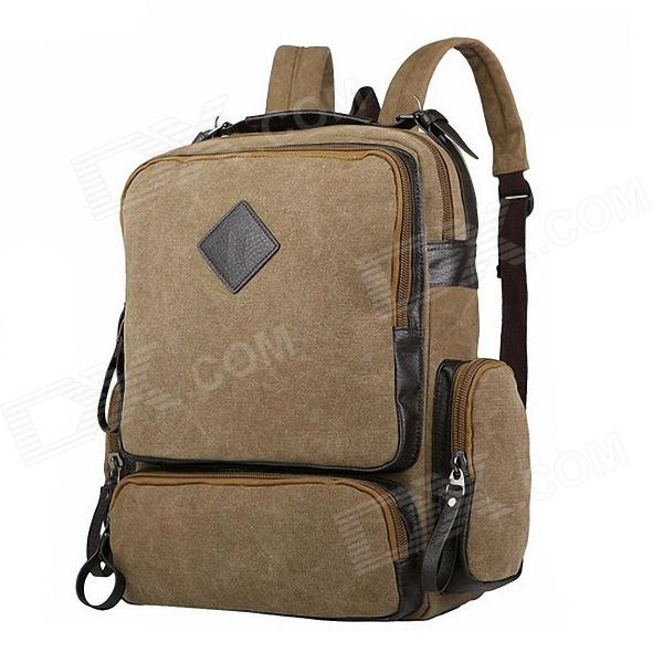 Manjianghong 1109 Unisex Fashion Canvas Backpack - Khaki