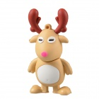 Cute Mini Cartoon Elk Style USB 2.0 Flash Driver Disk - Khaki + Brown + White (4GB)