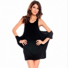 25083 robes col rond mode femmes - noir (taille libre)