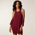 25083 Round Neck Fashion Women's Dresses - Wine Red (Size Free)