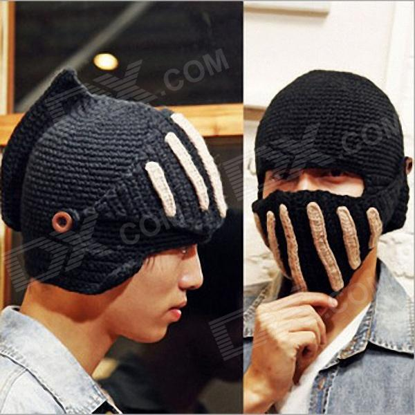 Men's Knight's Knitted Masks Helmet Cap - Black + White