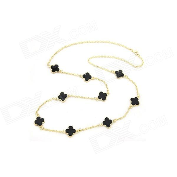 Fashionable Lovely Four Leaf Clovers Necklace - Golden + Black