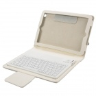 Wireless Bluetooth V3.0 77- Key Silicone Keyboard w/ PU Leather Case for iPad Mini -  White
