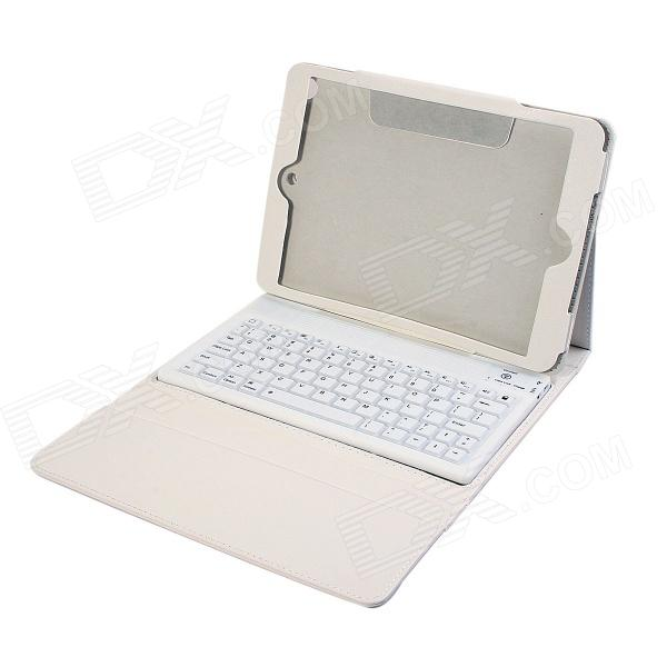 Wireless Bluetooth V3.0 Silicone Keyboard Protective PU Leather Case for Ipad AIR - White
