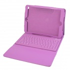 Wireless Bluetooth V3.0 Silicone Keyboard Protective PU Leather Case for Ipad AIR - Purple