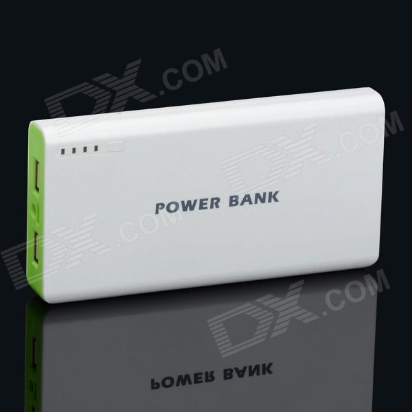 BP 15600mAh High-Quality Portable  Mobile Power Bank for Iphone 5S / Samsung / HTC -White + Green bp 15000mah dual usb mobile power source bank for iphone 5s samsung htc white green