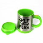 Creative Auto Stirring Mug - Silver + Green (2 x AAA / 350mL)