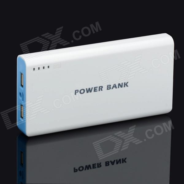 BP 15600mAh High-Quality Portable  Mobile Power Bank for Iphone 5S / Samsung / HTC - White + Blue bp 15000mah dual usb mobile power source bank for iphone 5s samsung htc white green