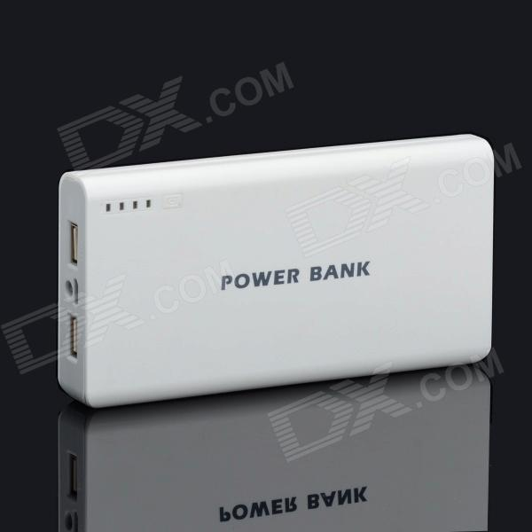 BP 15600mAh High-Quality Portable  Mobile Power Bank for Iphone 5S / Samsung / HTC - White + Grey bp 15000mah dual usb mobile power source bank for iphone 5s samsung htc white green