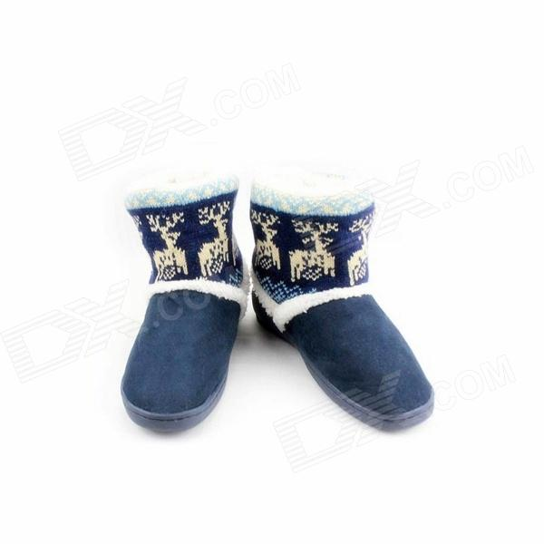 Fashionable Thickening Version Warm Household Deer Pattern Snow Boots - Blue (Size-40)