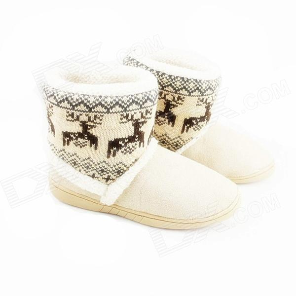 Fashionable Thickening Version Warm Household Deer Pattern Snow Boots - Beige (Size-40)