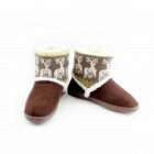 Fashionable Thickening Version Warm Household Deer Pattern Snow Boots - Brown (Size-40)