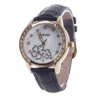 AODASI 4299L Fashionable Women's Quartz Wrist Watch w/ Rhinestone Decoration - Black+Golden