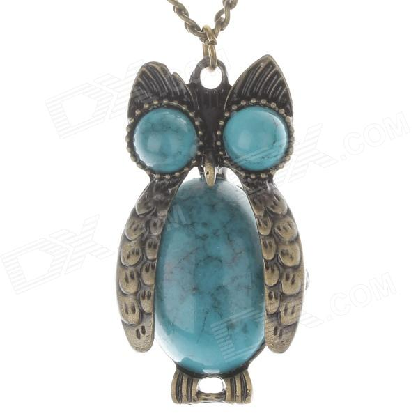 Fashion Owl Style Women's Sweater Necklace - Bronze + Blue