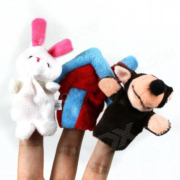 Cute Puzzle Educational Toys Wolf + House + Rabbit Finger Sleeve - Multicolored