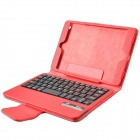 Detachable Wireless Bluetooth V2.0 59- Key Plastic Keyboard w/ PU Leather Case for Ipad MINI - Red