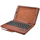 Detachable Wireless Bluetooth V2.0 59-Key Plastic Keyboard w/ PU Leather Case for Ipad MINI - Brown