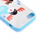 LOFTER Winter Indian Family Deer Style Protective Back Case for Iphone 5S - Blue + White + Red