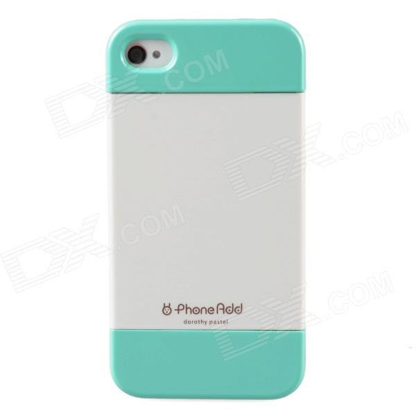 PhoneAdd Three-piece Candy Color Protective Case for Iphone 4 / 4S - White + Green