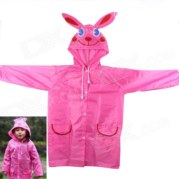 Cute Rabbit Style Children Polyester Raincoat - Pink