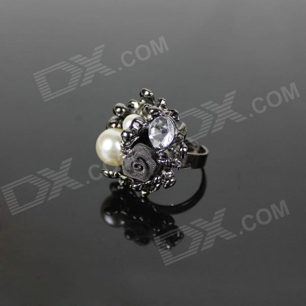 Rose Pearl Rhinestone Ring - Black