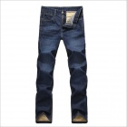 YH70 Men's Fashion Gold Wool And Wool Thickening Jeans Pants - Deep BlueSize 33)