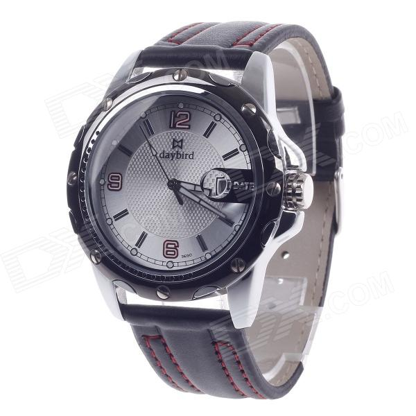 Daybird 3690 Men's Quartz PU Leather Wrist Watch w/ Simple Calendar - Black + Red (1 x LR626) high quality 20mm 22mm 24mm leather watch strap man watch straps black brown gray stainless steel buckle thick line watch band