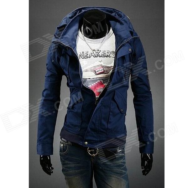 Double Collar Designed Jacket - Navy Blue (Size XL)