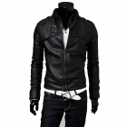 British Style Men's Stand Collar PU Leather Jacket - Black (L)