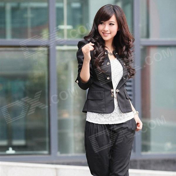 Lady's Office Short Paragraph Slim Suit - Black (Size L)