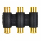 3*RCA Female to 3*RCA Female Adapter - Black