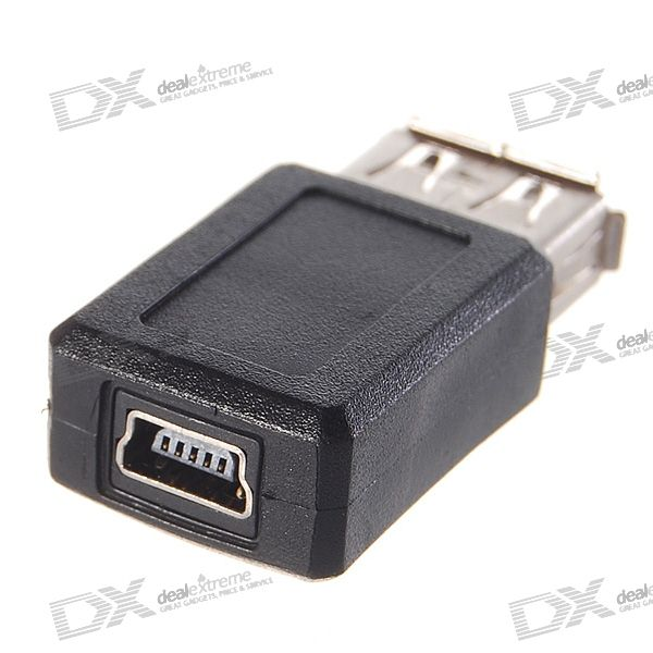 usb a female to mini usb 5 pin female adapter free shipping dealextreme. Black Bedroom Furniture Sets. Home Design Ideas