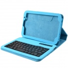 Detachable Bluetooth V3.0 59-key Keyboard + PU Leather Case for Samsung Galaxy Tab - Light Blue