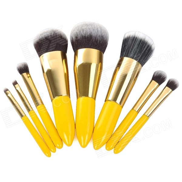 Portable 8-in-1 Cosmetic Makeup Brush Tool Set - Yellow