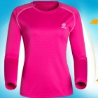 TECTOP Outdoor Women's Quick-Drying Long Sleeve T-Shirt - Deep Pink + White (Size L)