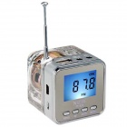TT-028 Colorful Flash Mini Speaker w/ FM, TF Card Reader & Clock - Transparent