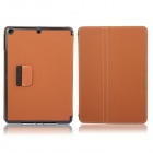 Protective Denim + Plastic Case Cover Stand w/ Auto Sleep / Pen Holder for Ipad AIR - Brown