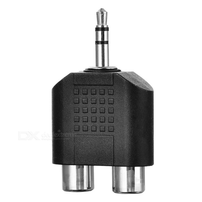 3.5mm Male to 2*RCA Female Audio Adapter - Black