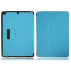 Protective Denim + Plastic Case Cover Stand w/ Auto Sleep / Pen Holder for Ipad AIR - Light Blue