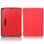 Protective Denim + Plastic Case Cover Stand w/ Auto Sleep / Pen Holder for Ipad AIR - Red