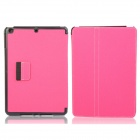 Protective Denim + Plastic Case Cover Stand w/ Auto Sleep / Pen Holder for Ipad AIR - Deep Pink